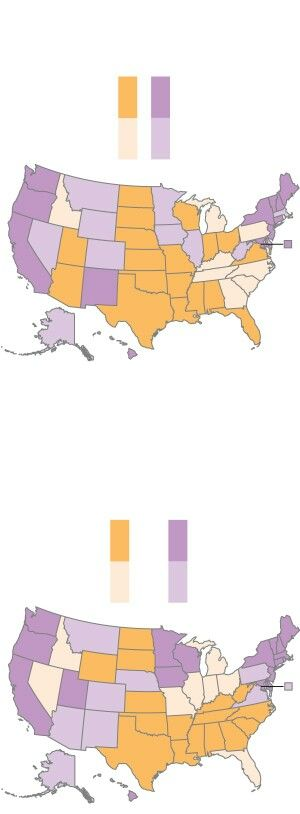 U.S. Map showing the most Google searches for self-induced abortion. In states that are orange, self-induced abortions are also being prosecuted.