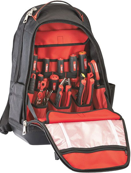 Milwaukee has come out with a new tool backpack that offers one section for laptops and tablets, another with lots of pockets for hand tools, and an outer flap to secure your bigger and bulkier gea...