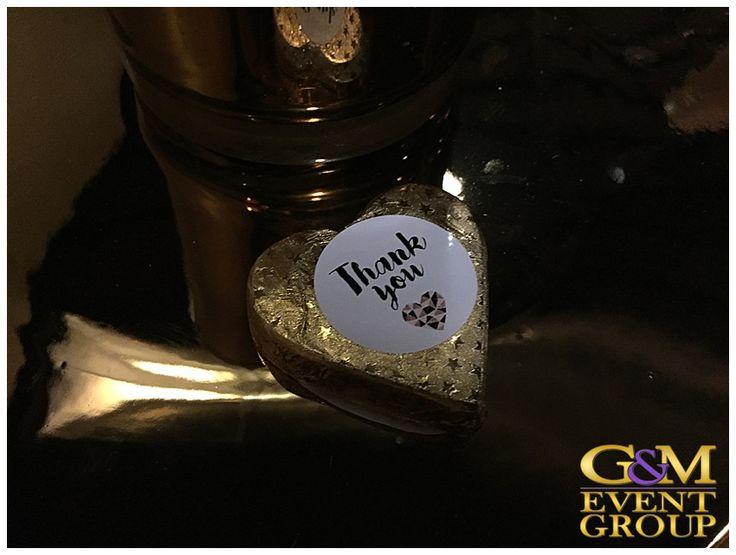Kasey & James' wedding @ the Joinery West End - Thank you chocolate heart | Wedding DJ + MC + Lighting | Custom Monogram | Warm White Uplighting #warehousewedding #uplighting #weddinglighting #custommonogram #weddingdj #weddingmc #gmeventgroup