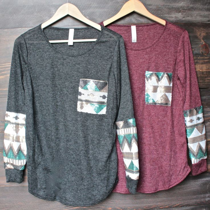chevron aztec sequin sleeves & pocket lightweight long sleeve shirt (2 colors)