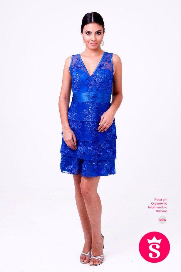 106 - Vestido Curto Azul com Paetês