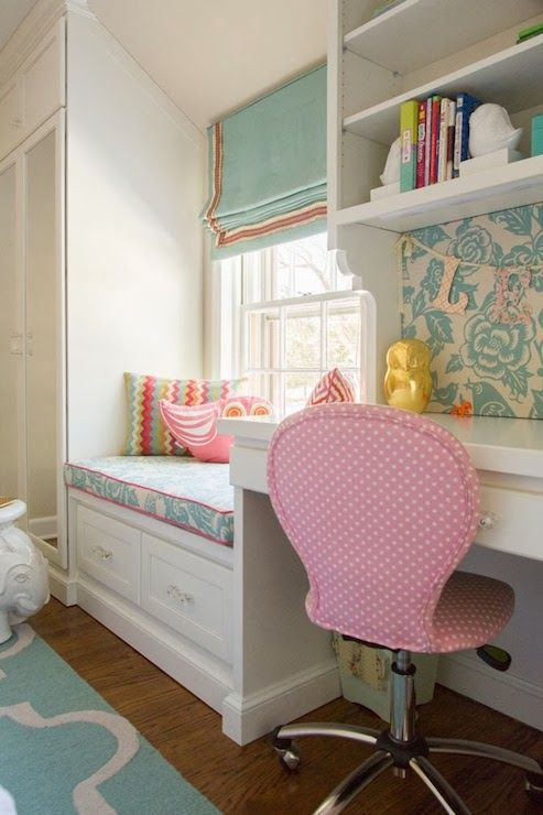 Nest Studio - girl's rooms - Thomas Paul Aviary Robin Fabric, Round Upholstered Desk Task Chair, blue and white bird fabric, aqua blue bird fabric, upholstered message board, upholstered memo board, built in desk, built in window seat, window seat