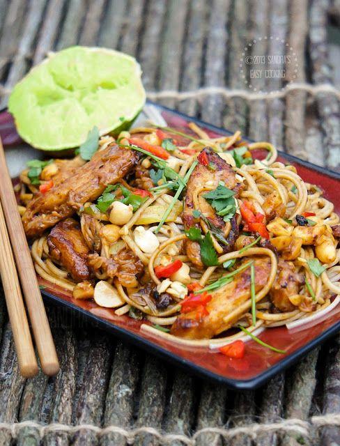 Easy Thai recipe for peanut Chicken Noodle Stir Fry