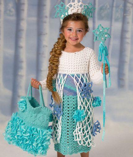 Snow Princess Dress Free Crochet Pattern from Red Heart Yarns