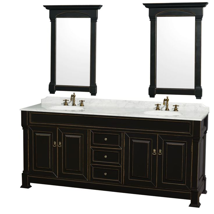 wyndham collection andover black 80inch double bathroom vanity with two 24inch mirrors