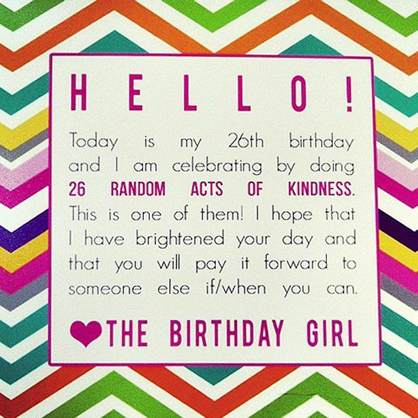 40th Birthday Random Acts Of Kindness