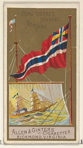 Commodore's Pennant, Norway, from the Naval Flags series (N17) for Allen & Ginter Cigarettes Brands