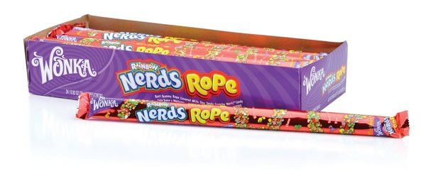 Nerds rope is a soft candy string with nerds stuck on the outside of the sweet candy rope. This soft gummy rope is covered with tiny tangy crunchy nerds candy. They are as much fun to play with as the
