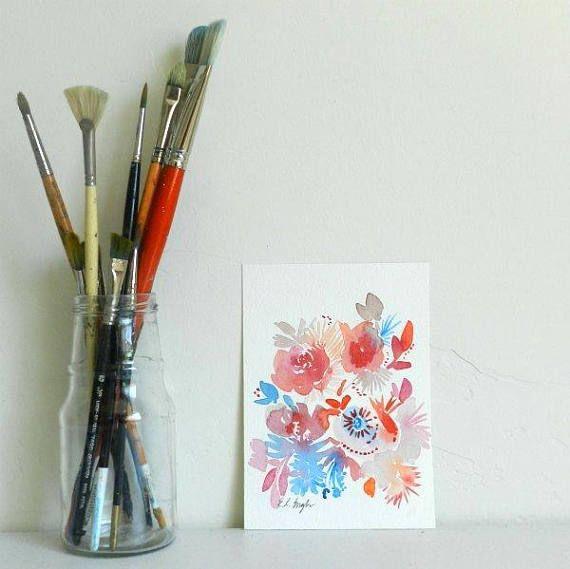 ROZE BLOEMEN-ORIGINEEL AQUAREL AQUAREL DEZE AANBIEDING OMVAT: Een originele aquarel schilderij van koraal, roze en blauw gekleurde bloemen. Een mooie mix van kleur en bloemen vormen. Dit bloemen schilderij laat doorschemeren bij de zeeleven en mijn liefde van de Oceaan en alle dingen floral combineert. GROOTTE: 5 x 7 inch MATERIALEN: 140lb coldpress aquarel papier, aquarel verf van professionele kwaliteit DETAILS: -Geen frame of accessoires meegeleverd. -Copyright Elise Engh 2017. Kunsten...