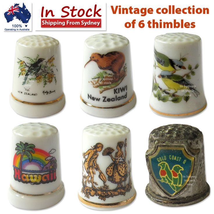 Vintage collection of 6 thimbles Lot #3