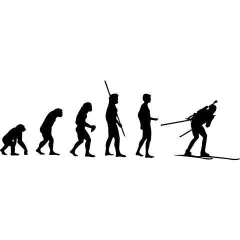 Die Evolution vom Biathlon mit seiner Waffe auf sein Rücken und seinen Langlauf Ski.