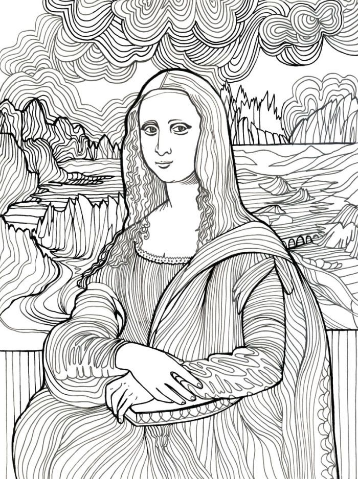 the most awesome and also attractive mona lisa coloring page with regard to encourage in coloring picture cool coloring pages and beautiful color art - Mona Lisa Coloring Page Printable