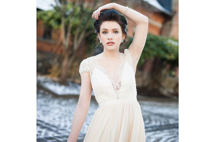 Romantic and neutral bridal makeup with a gorgeous updo for a blue eyed brunette!  Love this inspiration for my wedding!