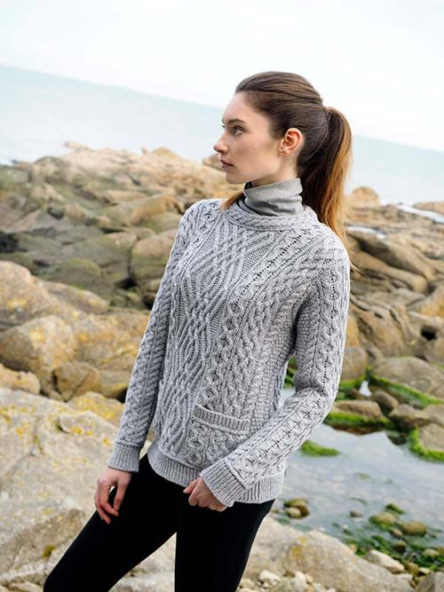 CABLE CREW NECK SWEATER WITH POCKETS by Natallia Kulikouskaya for Aran Crafts of Ireland
