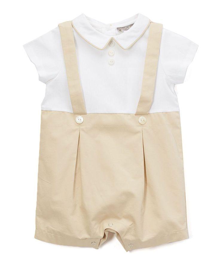 Beige & White Suspenders Romper - Infant