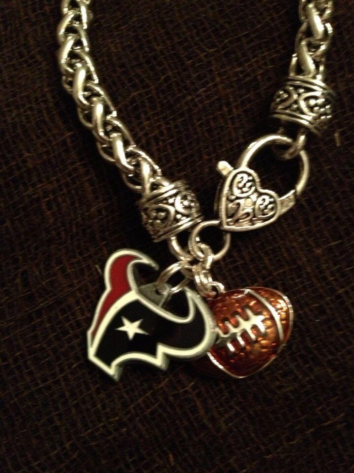 Houston Texans football charm bracelet by Beckyschunkystuff on Etsy https://www.etsy.com/listing/214337312/houston-texans-football-charm-bracelet