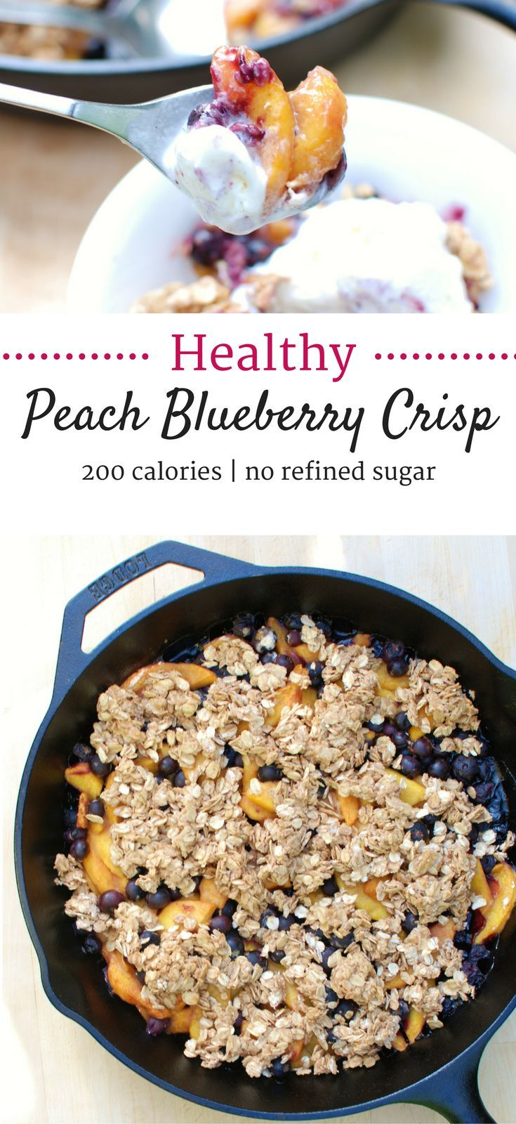 This healthy peach blueberry crisp is a skillet dessert that is sure to please!  Made with no refined sugar (it's sweetened with maple syrup!) and lightened up considerably from traditional versions for a 200 calorie treat. | healthy blueberry crisp | hea