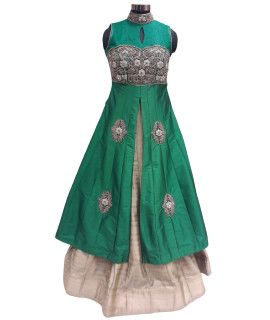 Frightening Green Silk Lehenga Suit With Dupatta.