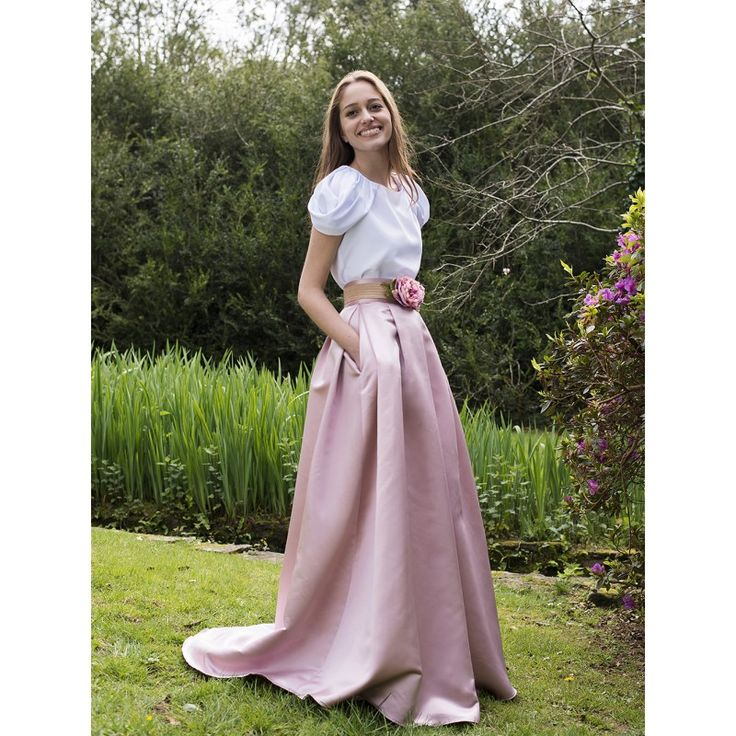 falda mikado rosa maquillaje larga con bolsillos para bodas y eventos