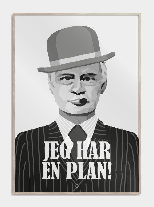 "Olsen Banden ""Jeg har en plan"" plakat - Egon Olsen   www.citatplakat.dk"