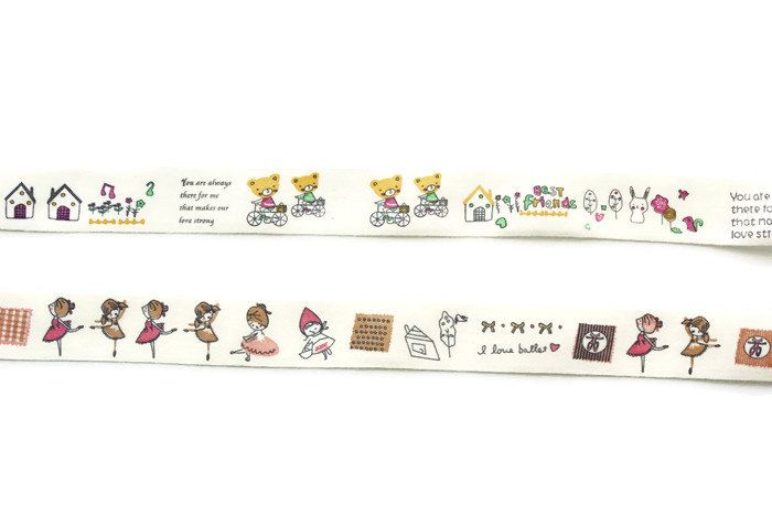 "Cotton Ribbon, Cotton Tape,3/4"" width, Zakka, Ballerina, Bear, Bunny, Rabbit, By the yard, Select your ribbon and length by TwoChubbyRabbits on Etsy"