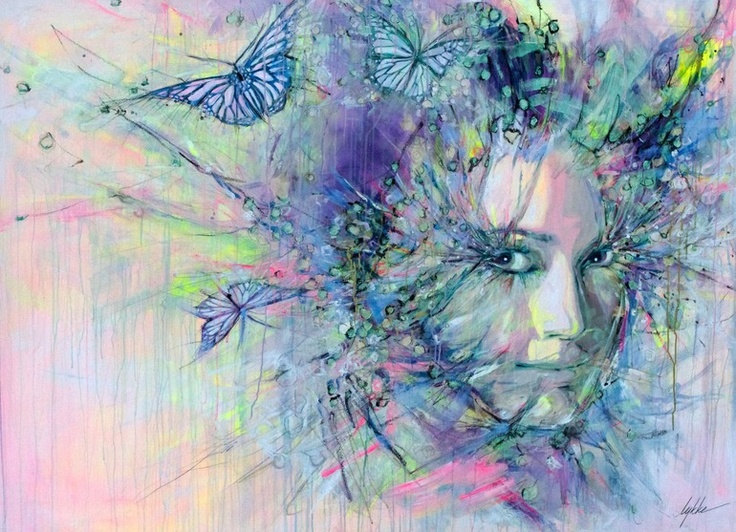 """""""Butterfly Girl"""" painting by Lykke Steenbach Josephsen"""
