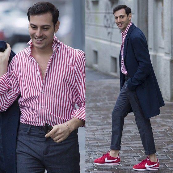 Get this look: http://lb.nu/look/8105596  More looks by Roberto De Rosa (instagram : robertoderosa): http://lb.nu/robertoderosa  Items in this look:  Nike Cortez, Zara Trousers, Sisley Coat, Vanacore Napoli Tailored Shirt, Ray Ban Sunnies   #casual #dapper #preppy #nike #nikecortez #shirt #sisley #menstyle #robertoderosa