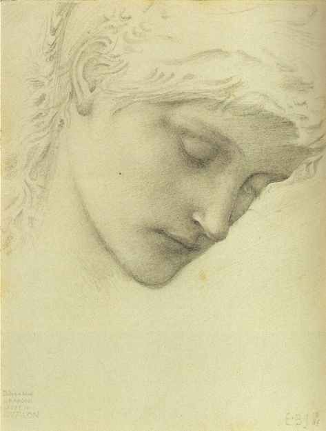 Sir Edward Burne-Jones - Study for the head of Morgan le Fay