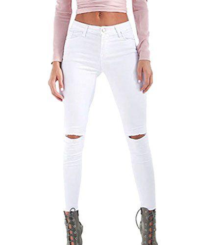 b672e87c86ec Dooxi Femmes Décontractée Skinny Stretch Crayon Denim Pantalons Élégant Taille  Haute Déchiré Boyfriend Jeans Blanc XL