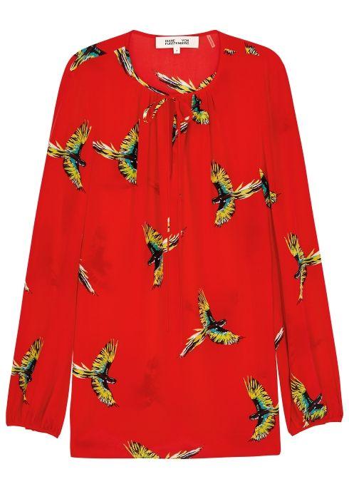 1fb665ae500359 Red bird-print silk blouse - Diane von Furstenberg