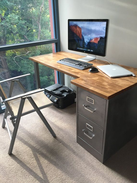 Desk with Refinished 2 drawer Metal Filing Cabinet w/ Solid Wood Top w/ steel tube legs / industrial / filing desk / rustic office furniture