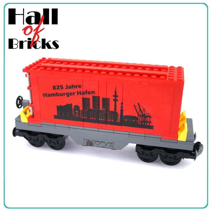 Hall of Bricks 3032 - Eisenbahn Container Waggon - Lego City Custom Set