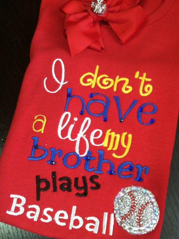 Embroidered baseball shirt, perfect for siblings of the ballfields on Etsy, $24.00