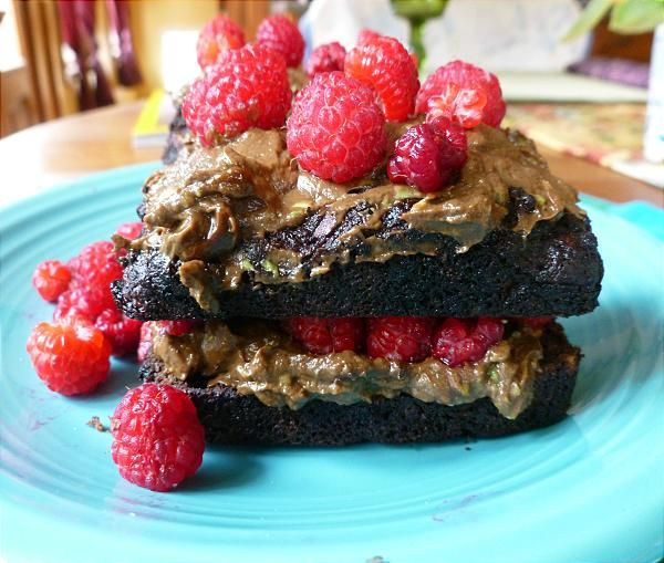 Vegan, Gluten-free Layered Chocolate Zucchini Cake with Icing & Raspberries