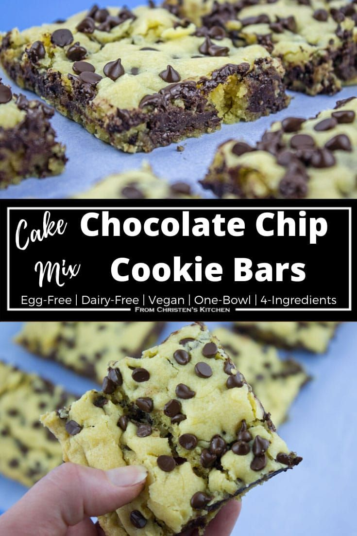 Cake Mix Chocolate Chip Cookie Bars Vegan From Christen S Kitchen In 2020 Cake Mix Chocolate Chip Cookies Cookie Bar Recipes Cheesecake Bar Recipes