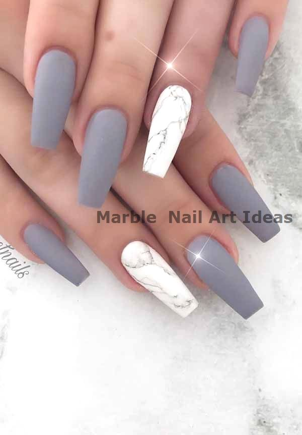 9 Excited Matte Nail Design Ideas For You To Apply Matte Nails Design Marble Acrylic Nails Gel Nails