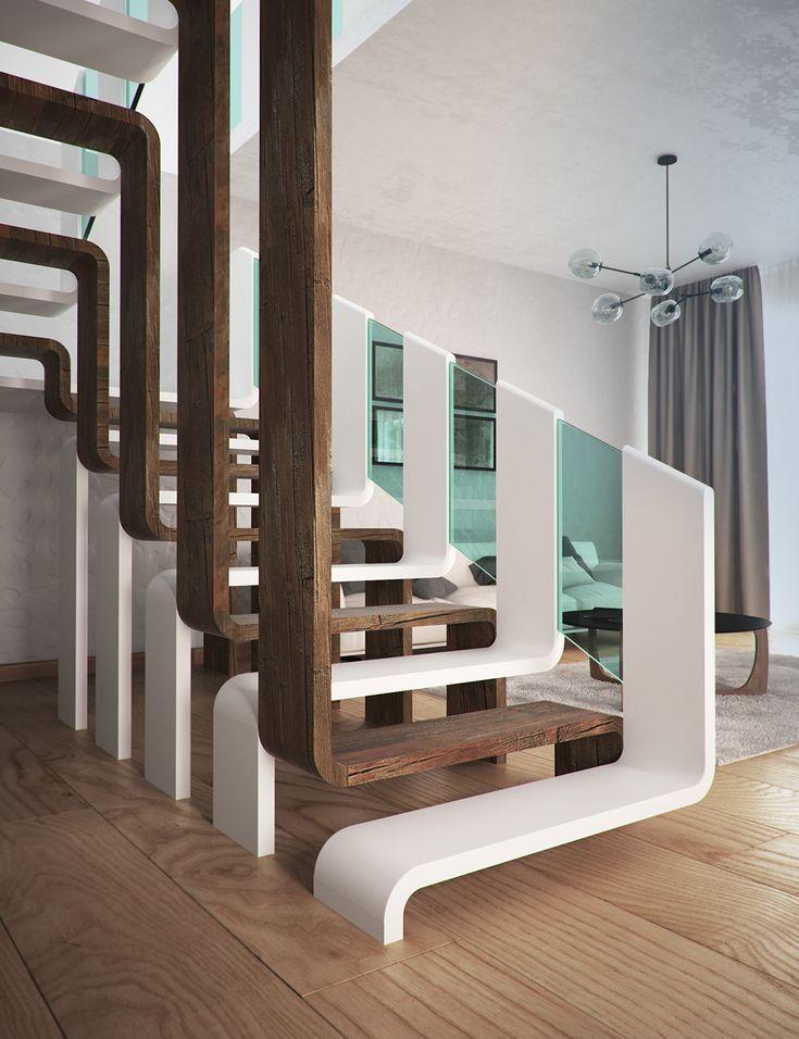 Außergewöhnliches Treppendesign aus Holz und Gla…