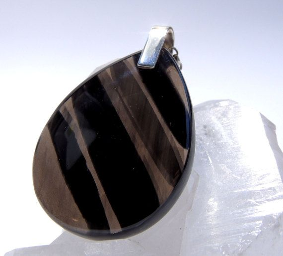 natural Black obsidian silver pendant / necklace by Majlagalery
