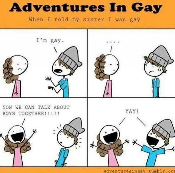 """Comics funny humor lgbt coming out Adventures In Gay Adventuresingay.tumblr.com << Most of my guy friends reacted similarly to this when I told them I was attracted to females. """"Yay! We can check girls out together!"""" My friends are the best."""
