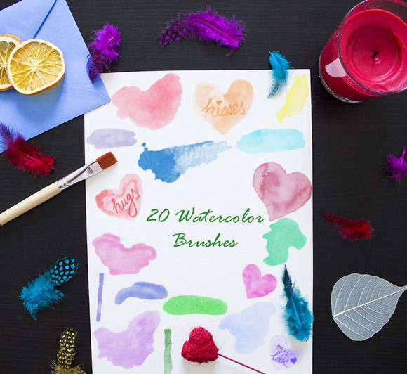 20 Watercolor Brushes by digitalopedia on Creative Market