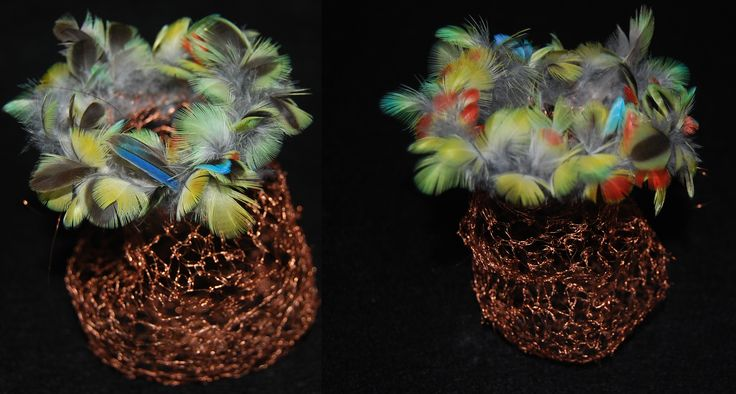 Mimi Dennett. The blue bonnet parrot and the computer. 2014. copper wire and blue bonnet parrot feathers from Oberon road. http://mimidennettart.blogspot.com.au/