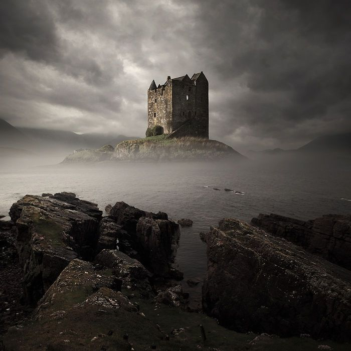 """Island fortress, Castle Stalker in Scotland (was featured in comedy film, """"Monty Python and the Holy Grail"""" during final scenes.)"""