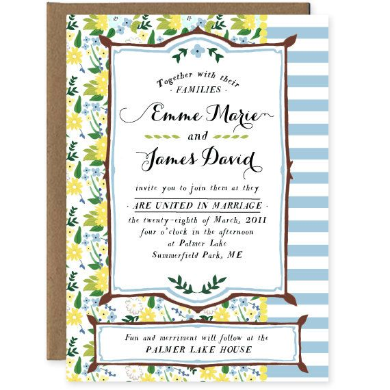 Vintage Floral Mix Wedding Invite Set Yellow and by amyheitman