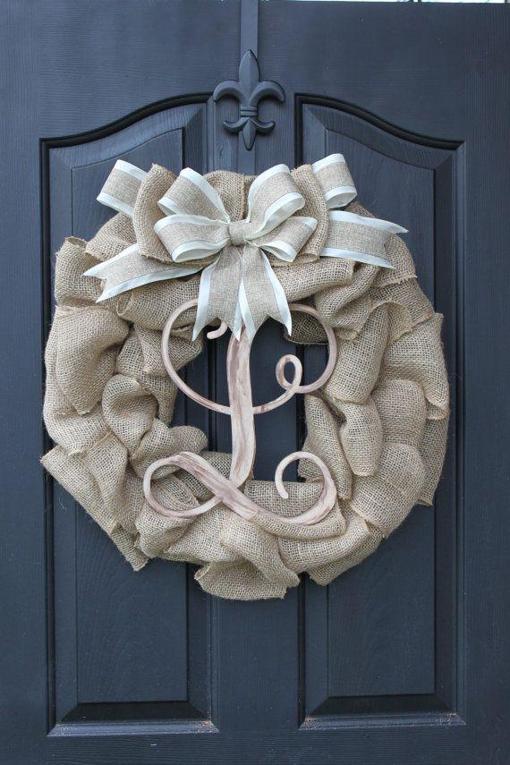 Burlap Wreath - Etsy Wreath -Wreaths - Summer wreaths for door  - Door Wreath - Monogram wreath