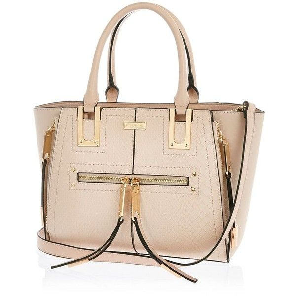 River Island Pink mini zip winged tote handbag ($70) ❤ liked on Polyvore featuring bags, handbags, tote bags, river island, bags / purses, pink, shoppers / tote bags, women, zip top tote et zippered tote