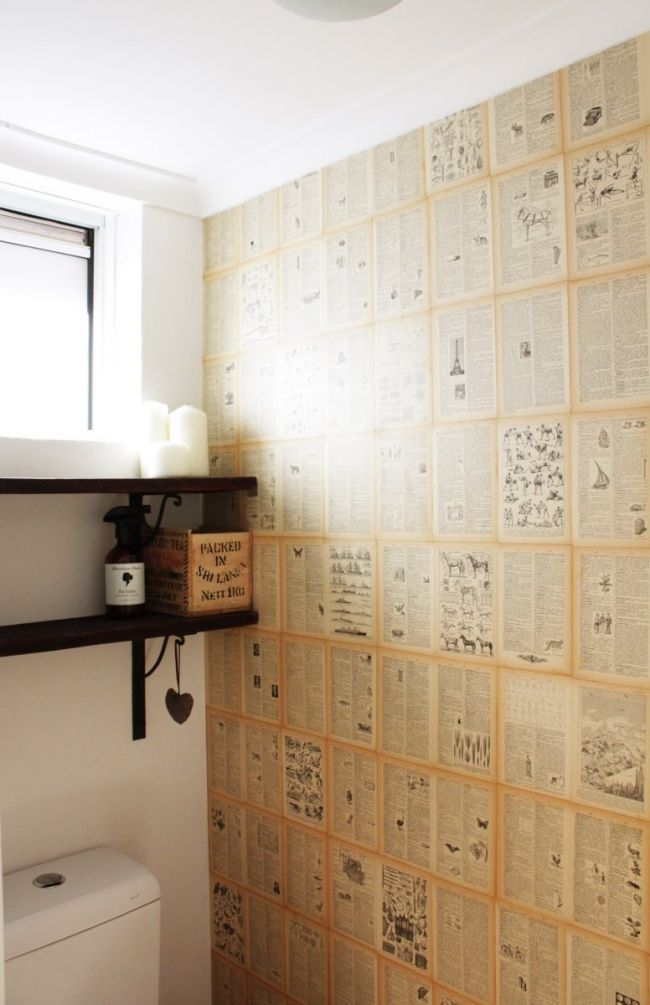 Easy DIY Book Page Wallpaper | House Nerd For the downstairs bathroom or master…