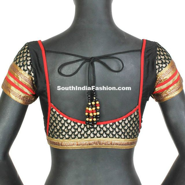 Beautiful Black Brocade Blouse Model ~ Celebrity Sarees, Designer Sarees, Bridal Sarees, Latest Blouse Designs 2014 South India Fashion