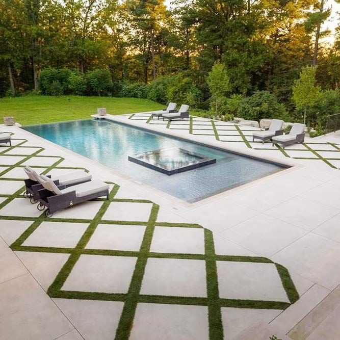 Concrete Pool Deck With Grass Accent Concretedeck All Possible Pool Deck Id Modern Design In 2020 Concrete Pool Backyard Backyard Pool