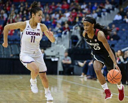 Stanford's Kiana Williams drives against Connecticut's Kia Nurse during the first quarter of an NCAA college basketball game, Sunday, Nov. 12, 2017, in Columbus, Ohio. (AP Photo/David Dermer)