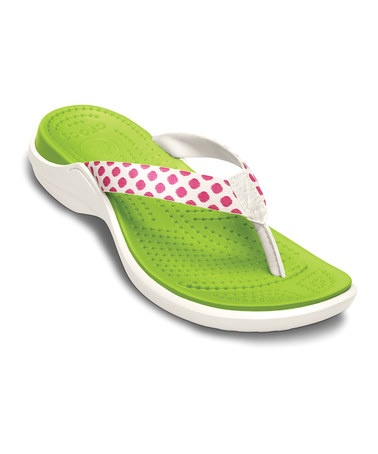 Take a look at this Fuchsia & Oyster Polka Dot Capri Flip-Flop - Women by Crocs on #zulily today!